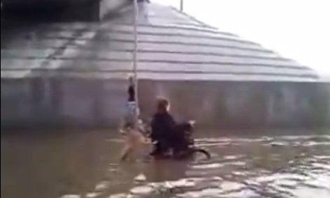 Perro empuja su amo en silla de ruedas durante inundación (VIDEO)