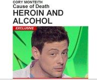 Estrella de Glee murió por combinación letal de heroína y alcohol