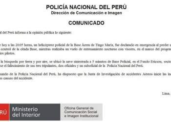 Tres policías murieron tras caída de helicóptero en Tingo María