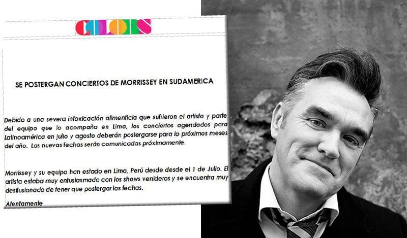 Morrissey se intoxica en Lima y suspende conciertos