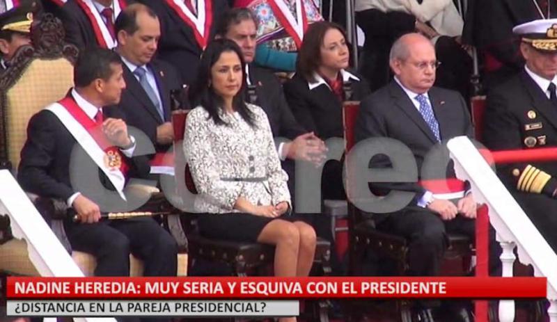 (Video) ¿Distancia presidencial? Nadine Heredia seria y esquiva con Ollanta