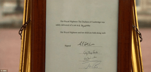Documento oficial que confirma el nacimiento del futuro rey