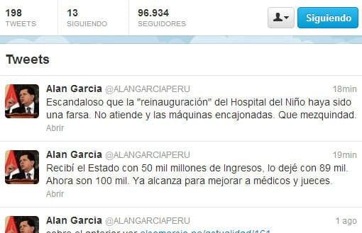 """Alan García: """"Reinauguración del Hospital del Niño fue una farsa"""""""