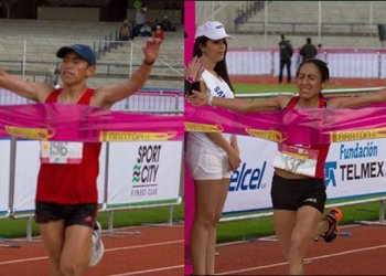 Raúl Pacheco y Gladys Tejeda (ambos en la foto) se impusieron en la Maratón de México.