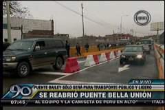 (Imagen Frecuencia Latina) Reabren puente Bella Unión sólo para vehículos ligeros y de transporte