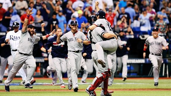 Los Medias Rojas de Boston celebran su clasificación a la Serie de Campeonato tras eliminar a los Rays de Tampa Bay.