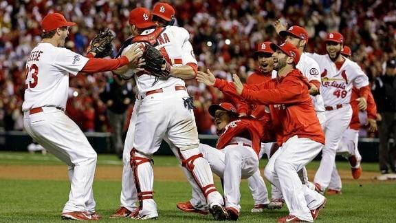 Celebración de los Cardenales de San Luis tras campeonar en la Liga Nacional de la MLB. Además avanzaron a la Serie Mundial.
