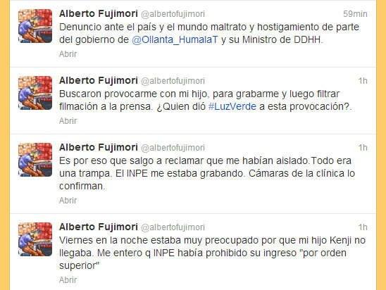 """Alberto Fujimori: """"Ollanta Humala y su ministro Figallo me provocaron"""""""