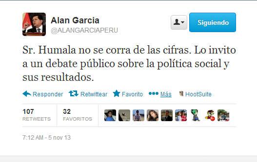 Alan García reta al presidente Ollanta humala a un debate público