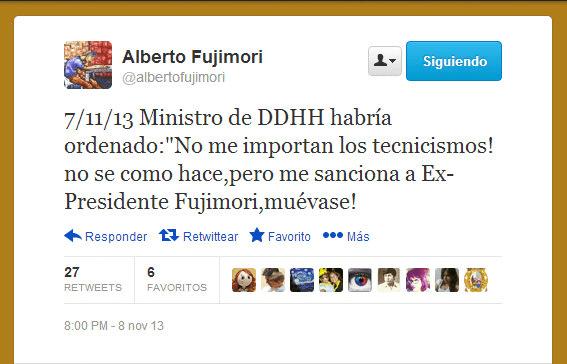 Alberto Fujimori dice que ministro Figallo ordenó sancionarlo contra la ley