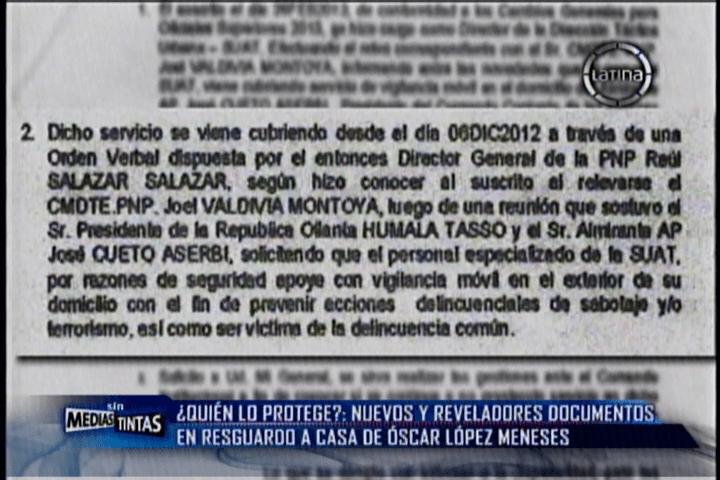 Ollanta Humala sabía de custodia a casa de López Meneses según documento
