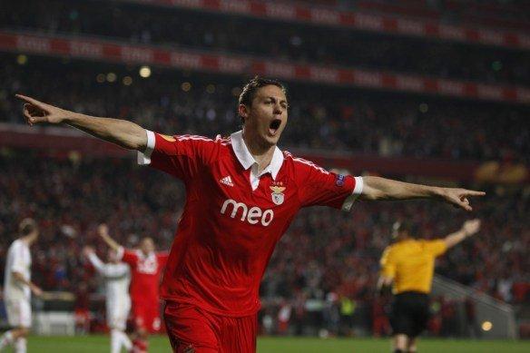 Mastic celebra el gol que le permitió Al Benfica conseguir la victoria ante el Braga.