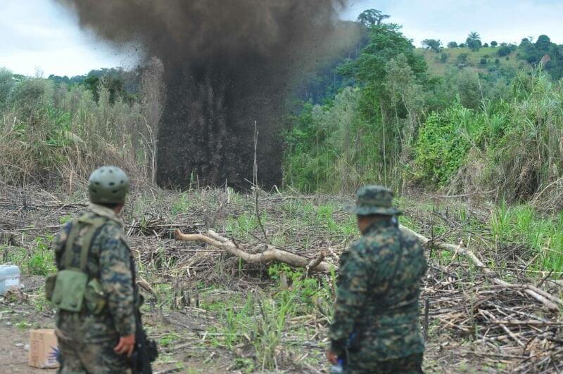 (Fotos diario Correo) FF.AA. y Policía destruyen diez 'narcopistas' en el Vraem