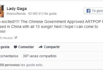 Lady Gaga entusiasmada porque China autorizó venta de su álbum ARTPOP