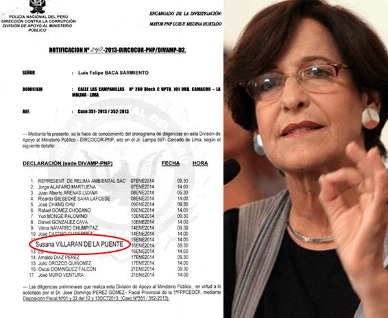 Fiscalía cita a Susana Villarán para el 16 de enero por caso Relima