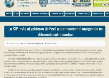 SIP pide a Humala y al gobierno permanecer al margen de diferendo entre medios