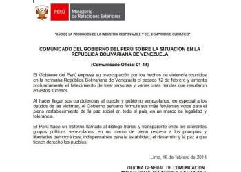 Gobierno de Ollanta Humala no cuestionó represión del régimen chavista