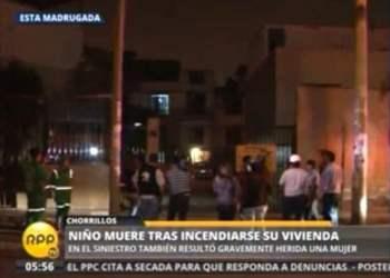 FOTO RPP / Niño de siete años murió tras incendio de su vivienda en Chorrillos