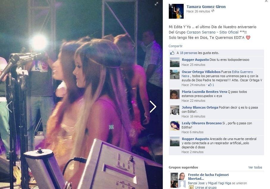 Foto Facebook / Corazón Serrano: Tamara Gomez pide a Dios por Edita Guerrero