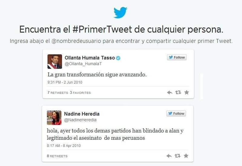 El primer tuit de los políticos peruanos