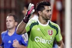 El portero Herrera celebra lo que sería el gol del triunfo de la U, de Chile frente al Real Garcilaso.