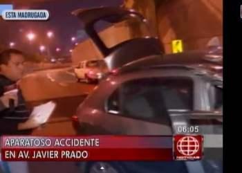 San Borja: Dos heridos deja volcadura de auto en avenida Javier Prado