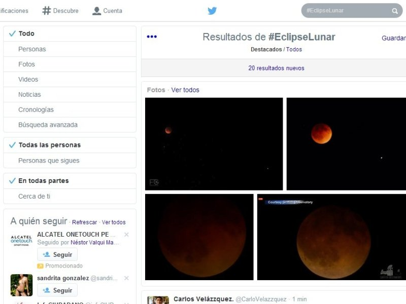 Twitter: #LunaRoja y #EclipseLunar fueron tendencia en Perú y el mundo