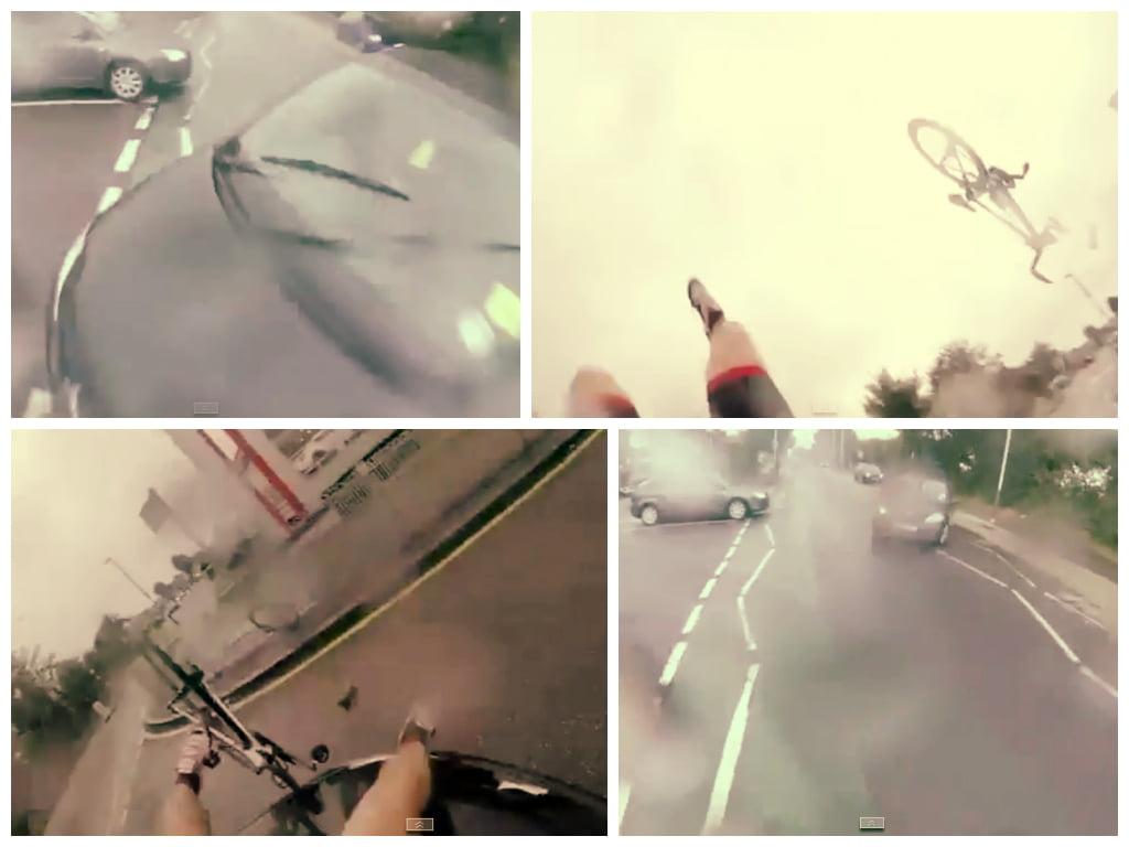 [VIDEO] Impactante: Ciclista es atropellado y graba todo con cámara en su casco