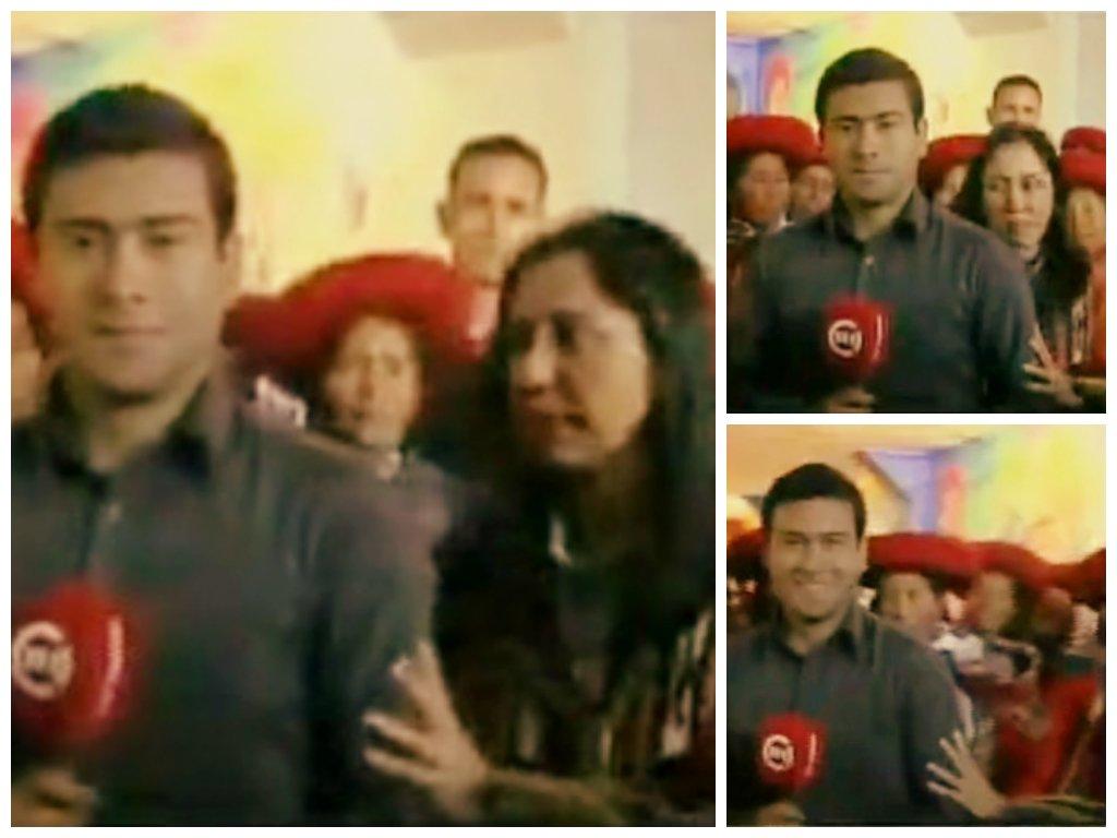 [VIDEO] Nadine Heredia 'acomoda' a reportero y arma despacho de TV Perú