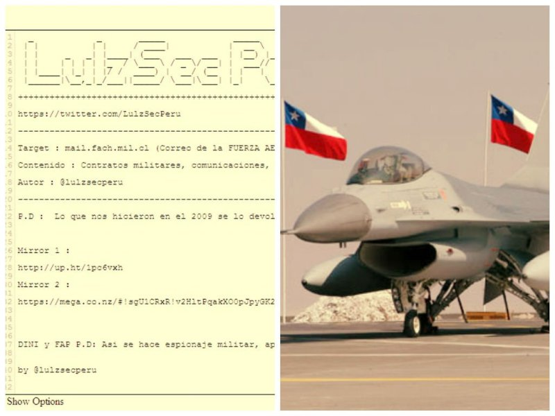 Hackearon emails de Fuerza Aérea de Chile revela @LulzSecPeru
