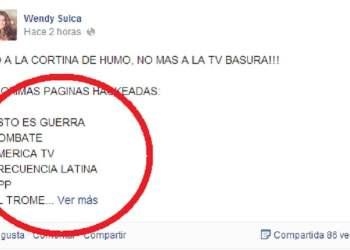 Hackean Facebook de Wendy Sulca pero no fue Anonymous Perú