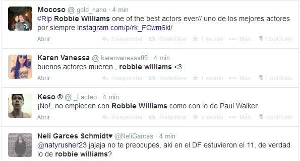 Error: Mataron al cantante Robbie Williams en Twitter y Facebook