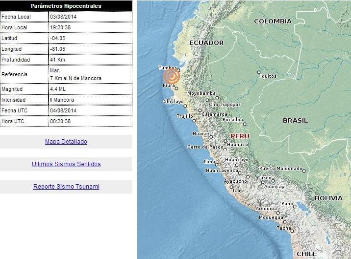 Cinco sismos sacudieron hoy Tumbes y Piura según el IGP
