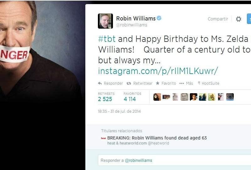 [FOTO] El último y emotivo tweet de Robin Williams días antes de su muerte