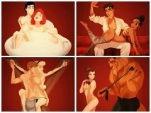 Parejas de Disney interpretando 50 sombras de Grey