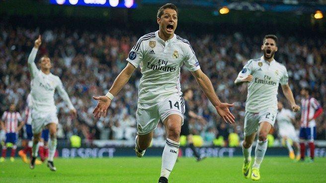 """El mexicano """"Chicharito"""" Hernández evitó el suplementario tras darle al Real Madrid el pase a los semifinales sobre los últimos minutos de juego."""