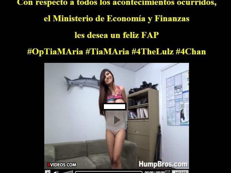 Anonymous hackeó web del Ministerio de Economía y deja video porno