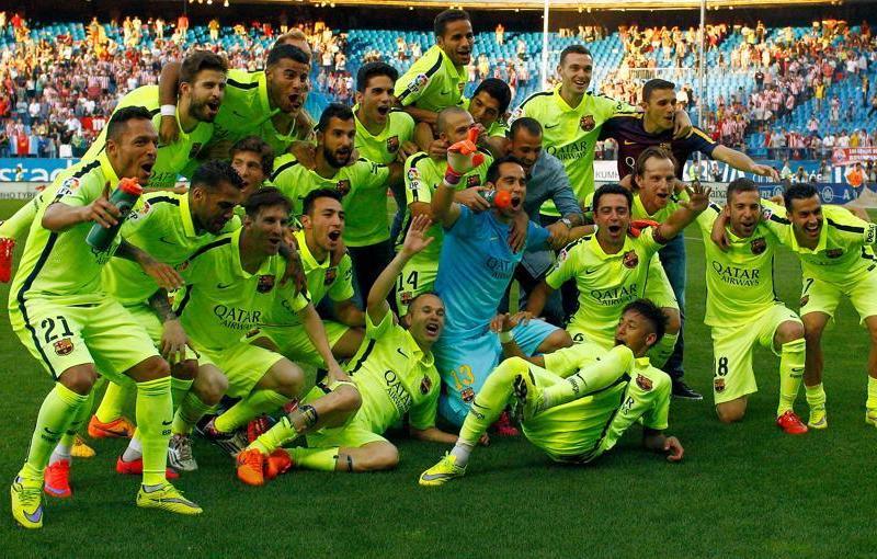 Barcelona celebró el título en el Vicente Calderón de Madrid.