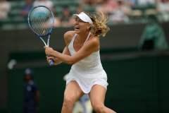 Sharapova celebró otro triunfo en Wimbledon.