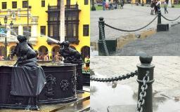 Así luce la pileta de la Plaza Mayor de Lima (Fotos https://www.facebook.com/limantigua)