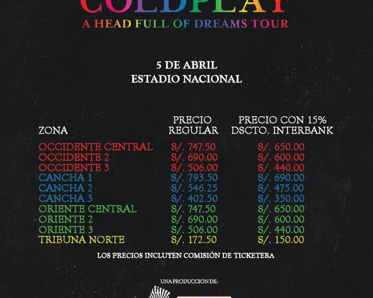 Coldplay: precios de las entradas para concierto en Lima