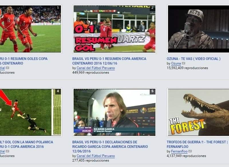 En YouTube los goles de la Copa América