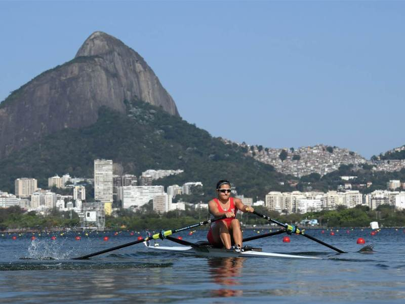 Remeros peruanos León y Valle (en la foto) debutaron hoy en Río.