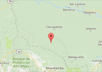 Ubicación del sismo en la región San Martín
