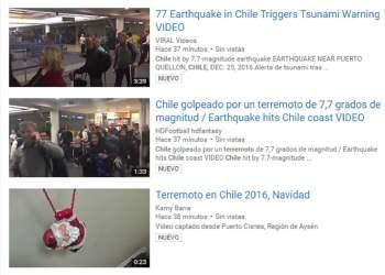 Terremoto en chile en YouTube