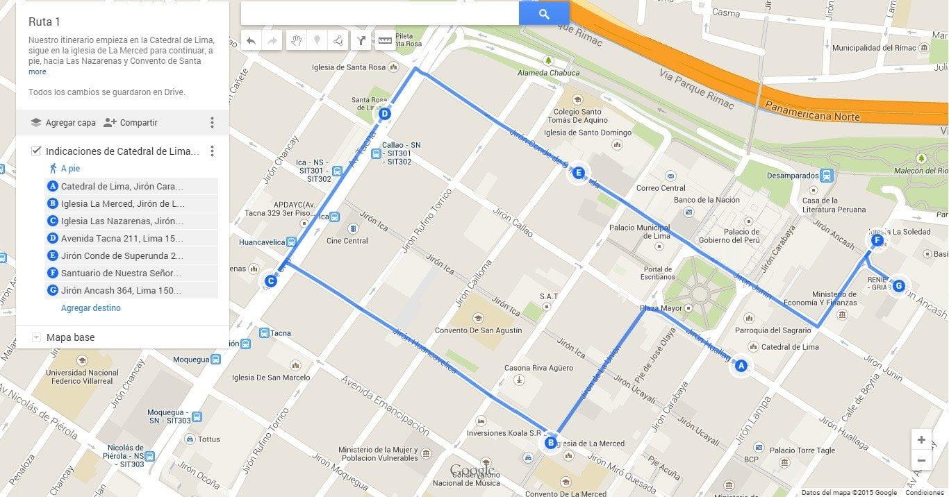 El primer recorrido empieza por la Catedral de Lima (clic aquí para ver y descargar el mapa)