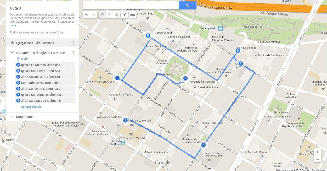 También, podemos empezar por la iglesia La Merced (clic aquí para ver y descargar el mapa)