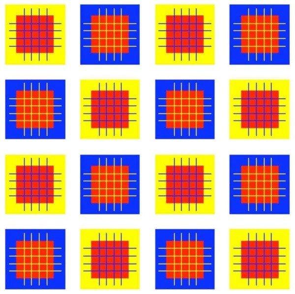 1-¿Son los cuadrados dentro de los cuadrados azules y amarillos del mismo color?