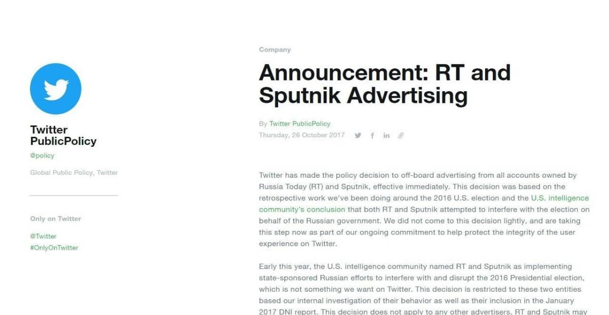 Twitter bloquea todo el contenido publicitario de RT