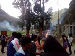 Incendio en Huancavelica por paro agrario